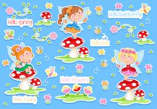 Hello Spring - Adorable little fairies and spring garden vector illustration