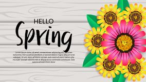 Hello Spring background with beauty flower blossom on the wood background stock illustration