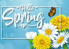 Hello Spring background with flower and butterfly on blue sky background. Illustration of Hello Spring background with flower and butterfly on blue sky Stock Photos