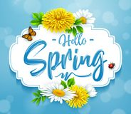 Hello Spring background with flower, ladybug, and butterfly on blue sky background. Illustration of Hello Spring background with flower, ladybug, and butterfly Royalty Free Stock Images