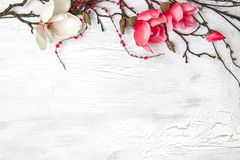 Hello spring background with flowers. Spring background with nice flowers on white wooden subsoil Stock Photography
