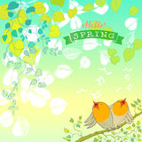 Hello Spring. Background with Hand Drawn Leaves and Birds Chirping Stock Photos