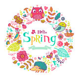 Hello Spring banner in doodle style Royalty Free Stock Photography
