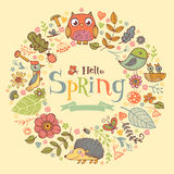 Hello Spring banner in doodle style Stock Photo