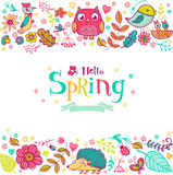 Hello Spring banner in doodle style Stock Photos