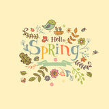 Hello Spring banner in doodle style Royalty Free Stock Photos