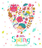 Hello Spring banner in doodle style Royalty Free Stock Image