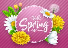 Hello spring banner with round frame and various flower on striped purple background. Illustration of Hello spring banner with round frame and various flower on Stock Photo