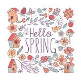 Hello, spring! Bird nests and spring flowers. Vector illustration royalty free illustration