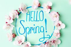 Hello spring note with cherry blossom flowers. Hello spring calligraphy note with cherry blossom flowers stock photography