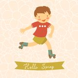 Hello spring card with cute little boy Royalty Free Stock Photography