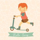 Hello spring card with cute little boy Stock Image