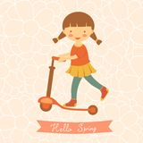 Hello spring card with cute little girl Royalty Free Stock Images