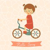Hello spring card with cute little girl Stock Images