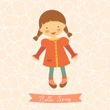 Hello spring card with cute little girl Royalty Free Stock Photography