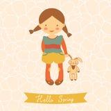 Hello spring card with cute little girl Stock Photos