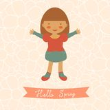 Hello spring card with cute little girl Stock Image