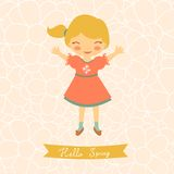 Hello spring card with cute little girl Stock Photos