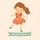 Hello spring card with cute little girl Royalty Free Stock Image