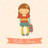 Hello spring card with cute little girl Stock Photo