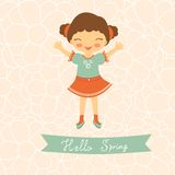 Hello spring card with cute little girl Royalty Free Stock Photo