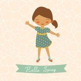 Hello spring card with cute little girl Royalty Free Stock Photos