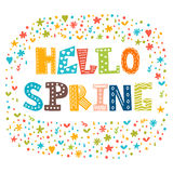 Hello spring card with decorative design elements. Cute greeting Royalty Free Stock Photo