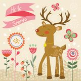 Hello spring card with deer Stock Images