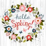 Hello spring card design . Vector. Royalty Free Stock Photography