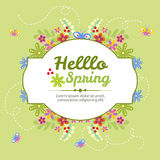 Hello spring. Card in floral theme for spring eps 10 file, with no gradient meshes,blends,opacity, stroke path,brushes.Also all elements grouped and layered stock illustration