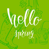 Hello spring card Stock Images