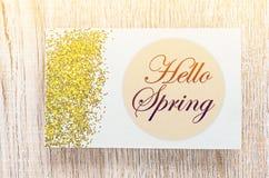 Hello spring card Stock Photos