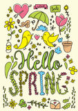Hello spring card. Hand drawn vector illustration. Royalty Free Stock Image