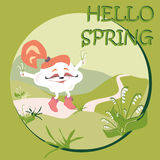 Hello spring card with happy cloud on a walk. With snowdrops and landscape Royalty Free Stock Photo