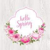Hello spring card over gray wooden texture. Hello spring card over gray wooden texture with rose garland. Vector illustration Stock Photography