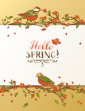 Hello spring card. Royalty Free Stock Photo