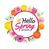 Hello spring circle frame greeting card and flowers decoration. Hello spring circle frame greeting card and flowers decoration Stock Photography