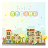 Hello spring cityscape background Royalty Free Stock Photos