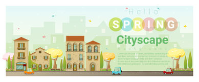 Hello spring cityscape background Royalty Free Stock Image