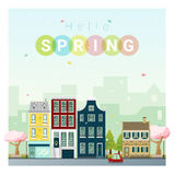 Hello spring cityscape background Royalty Free Stock Images