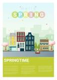 Hello spring cityscape background Stock Photos