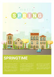 Hello spring cityscape background Royalty Free Stock Photography