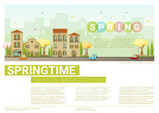 Hello spring cityscape background. Vector , illustration Royalty Free Stock Photography