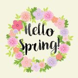 Hello Spring - Colorful Flower Illustration - vector eps10. Hello Spring - Colorful Flower Illustration -  - vector eps10 - pink, rose, yellow, blue Stock Photo