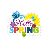Hello spring. Colorful flowers, sun and blue butterfly. Vector cartoon illustration for your wallpaper Stock Image
