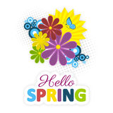 Hello spring. Colorful flowers, sun and blue butterfly. Stock Photo
