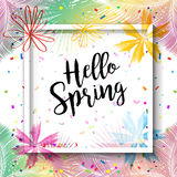 Hello Spring. Colorful Hand Drawn illustration, exotic flowers, confetti. tropical frame, palm tree leaves background for Spring Holiday, Carnival, Festival Stock Image