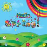 Hello spring colorful paper illustration of  landscape and rainb. Hello spring vector cartoon colorful paper illustration of beautiful landscape with sun Stock Image