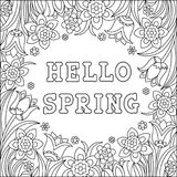Hello spring coloring page Royalty Free Stock Photography
