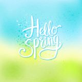 Hello Spring Concept on Abstract Cool Background Royalty Free Stock Images
